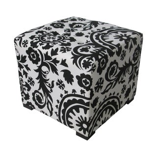 Sole Designs Black/ White Square Tufted Ottoman