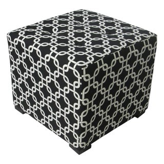 Sole Designs Black/White Geometric-Print Tufted Ottoman