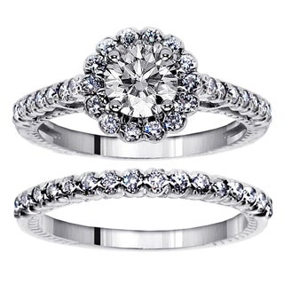 14k White Gold 1 3/4ct TDW Princess and Round Diamond Bridal Ring Set (F-G, SI1-SI2)
