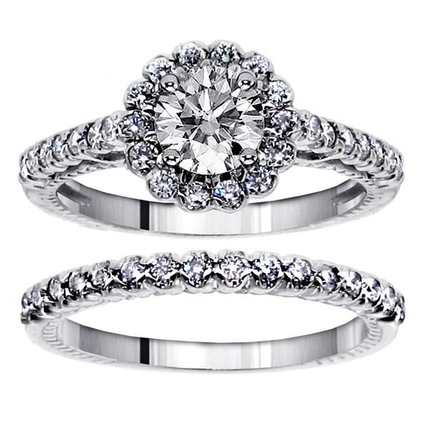 14k White Gold 1 3/4ct TDW Princess and Round Diamond Bridal Ring Set (F-G, SI1-SI2)