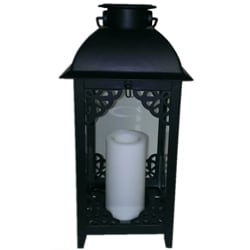 Paradise Solar Powered Black Moroccan Style Metal Lantern with Flameless Candle (Set of 2)