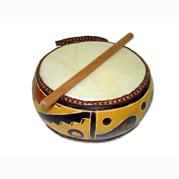Handmade Double Head 6 Inch Gourd Drum (Peru)