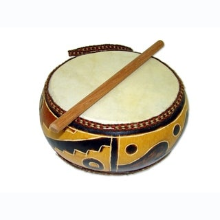 Handmade Double Head 6 Inch Gourd Drum (Peru)