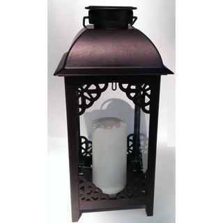 Paradise Solar Powered Bronze Moroccan Style Metal Lantern with Flameless Candle (Set of 2)