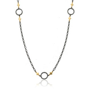 Riccova Black Rhodium-plated Cubic Zirconia Heavy Link Chain Necklace