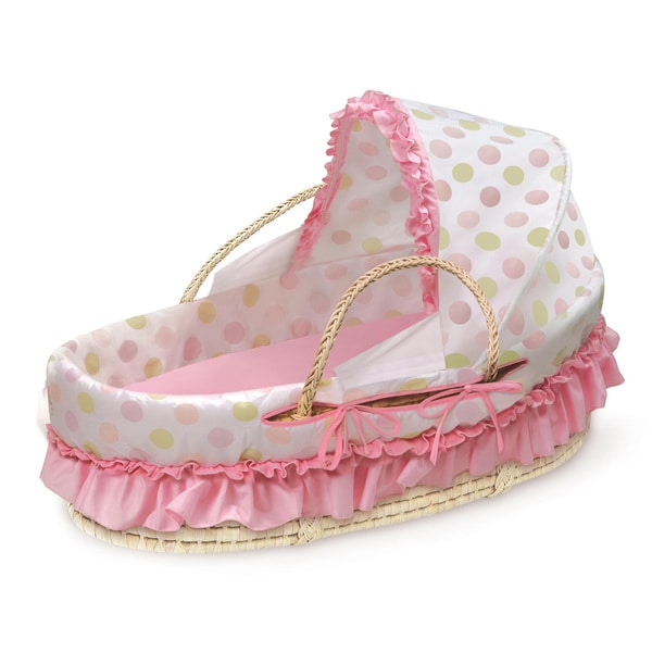 Fabric Canopy Natural Moses Basket in Pink and Sage Polka Dot