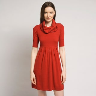 Qi Women&#39;s &#39;Drew&#39; Red Cowl Neck Sweater Dress