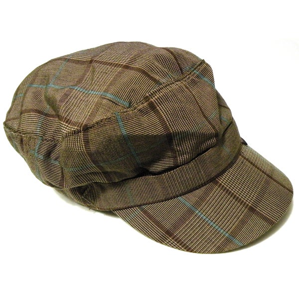 Pug Gear Women's Brown Plaid Newsboy Hat