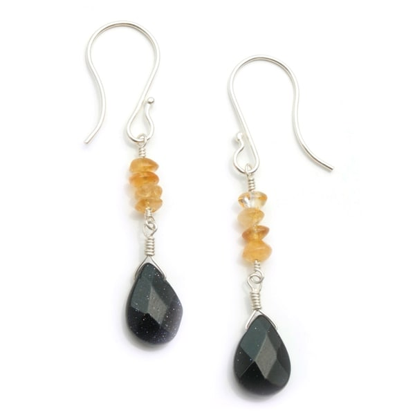 Sterling Silver 'Three Sisters' Gemstone Earrings