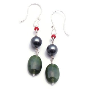 Sterling Silver 'Center Stage' Glass Pearl Earrings (USA)