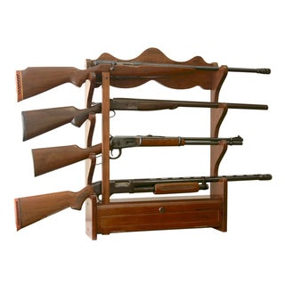 Brown Cherry Wood 4-gun Wall Rack