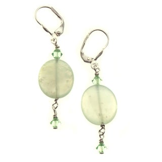 Sterling Silver 'Good Fortune' Jade Bead Earrings (USA)