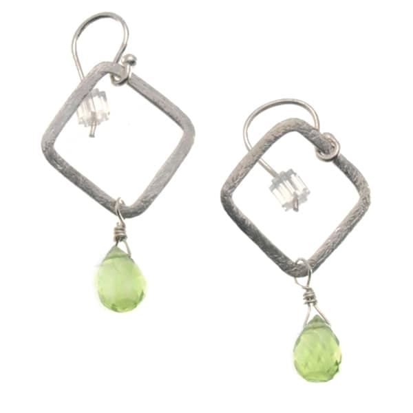 Sterling Silver 'Simplicity' Peridot Earrings