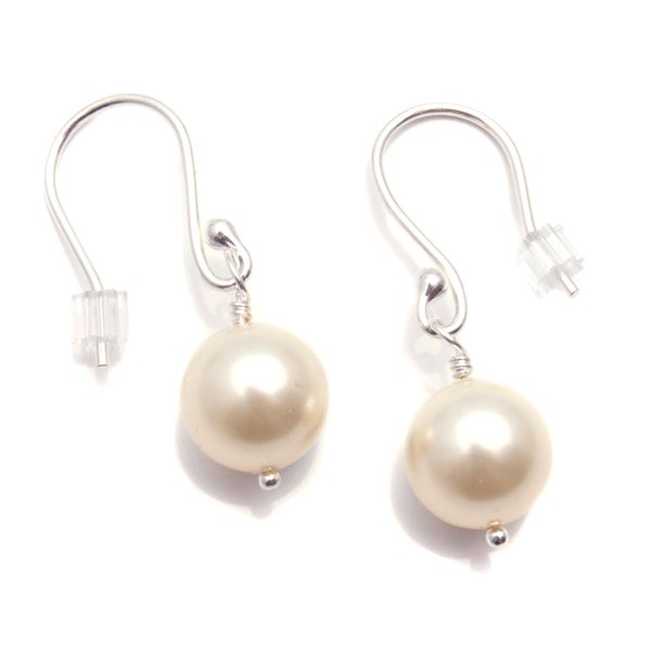 Sterling Silver 'Classic Pearl' Glass Pearl Earrings