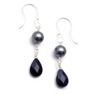 Sterling Silver 'Twilight' Glass Pearl Earrings