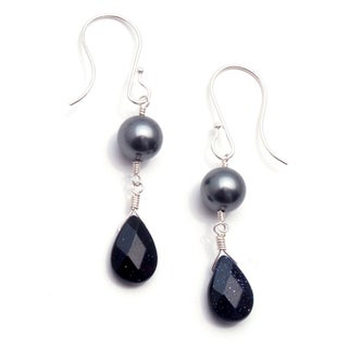 Sterling Silver 'Twilight' Glass Pearl Earrings (USA)