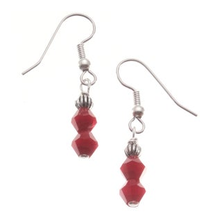 Sterling Silver 'Cherish' Red Crystal Earrings