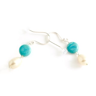 Sterling Silver Amazonite and Pearl Earrings (USA)