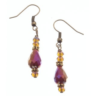 Brass 'Dramatic Effect' Crystal Earrings (USA)