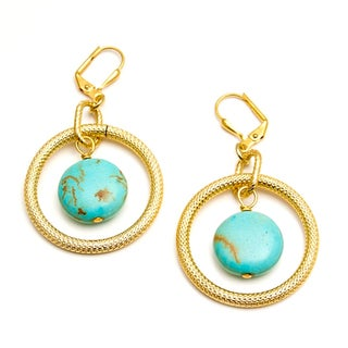 Goldfilled 'Golden Opportunity' Turquoise Howlite Earrings (USA)