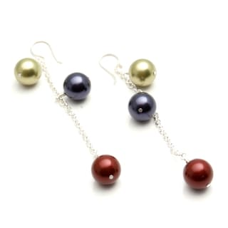 Sterling Silver 'Virtue' Glass Pearl Earrings (USA)