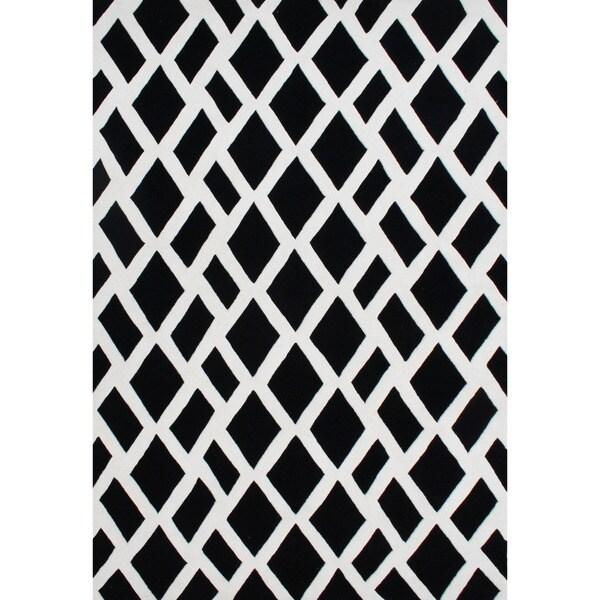Handmade Alliyah Hand-tufted Black/ Off-white New Zealand Blended Wool Rug (4' x 6')