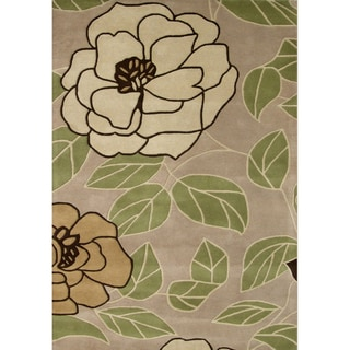 Alliyah Handmade Beige New Zealand Blend Wool Rug (9' x 12')