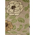 Handmade Alliyah Flower Green Wool Rug (9&#39; x 12&#39;)