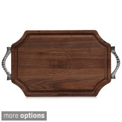 Monogrammed Walnut Cutting Board with Rope Handles