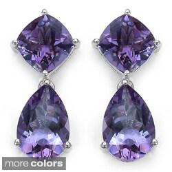 Marcel Drucker Sterling Silver Purple or Pink/ Green Amethyst Earrings