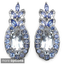 Marcel Drucker High-Polish Sterling-Silver Gemstone and Diamond Accent Earrings