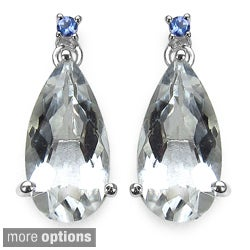 Marcel Drucker Sterling Silver Gemstone and Diamond Accent Earrings