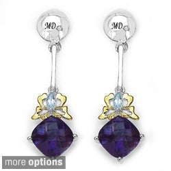 Marcel Drucker Sterling-Silver Gemstone and Diamond Accent Dangle Earrings
