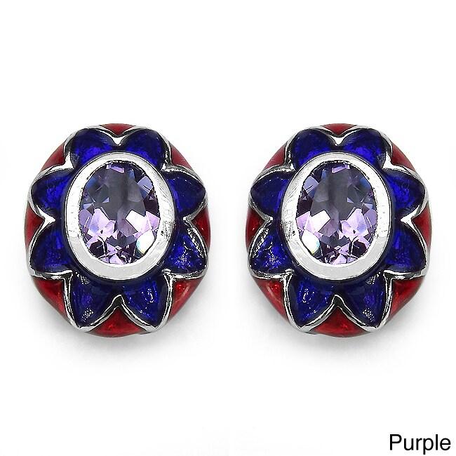 Marcel Drucker Collection Marcel Drucker Silver Amethyst or Blue Topaz and Diamond Earrings