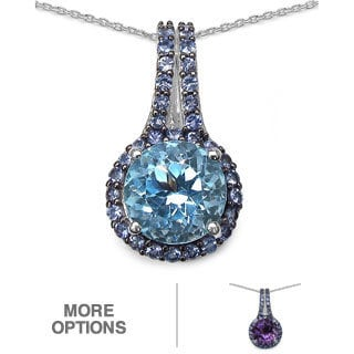 Marcel Drucker Sterling Silver Gemstone and Diamond Accent Pendant Necklace