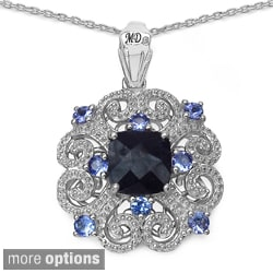 Marcel Drucker Sterling Silver Ruby/Sapphire Gemstone and Diamond Accent Necklace