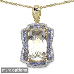 Marcel Drucker Gold-over-Silver Gemstone and Round-Cut Diamond Accent Necklace