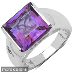 Marcel Drucker Sterling Silver Square Gemstone and Diamond Accent Ring