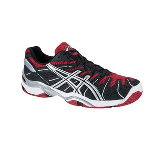 Asics Gel Men's 'Resolution 4' Black/ Red Tennis Shoes