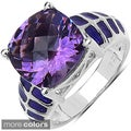 Marcel Drucker Sterling Silver Purple or Blue Gemstone and Diamond Accent Ring