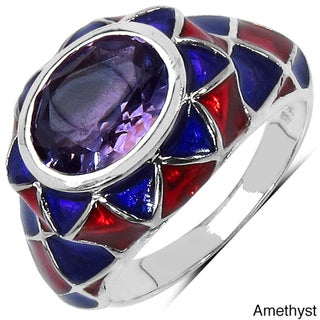 Marcel Drucker Sterling Silver Multicolor Gemstone and Diamond Accent Ring