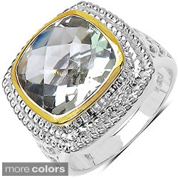 Marcel Drucker Sterling Silver Cushion-Cut Gemstone and Diamond Accent Ring