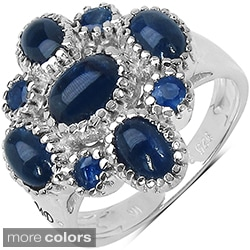 Marcel Drucker Sterling Silver Prong-Set Gemstone and Diamond Accent Ring