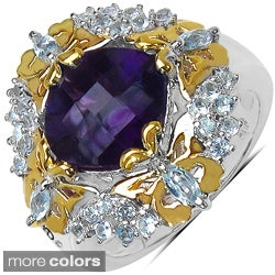 Marcel Drucker Sterling Silver/Gold Gemstone and Diamond Accent Ring