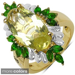Topaz Marcel Drucker 14k Gold over Silver Gemstone and Diamond Accent Ring