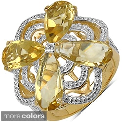 Marcel Drucker 14k Gold over Silver Gemstone and Diamond Accent Ring