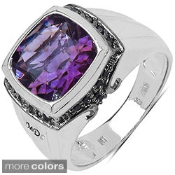 Marcel Drucker High-Polish Sterling Silver Gemstone and Diamond Accent Ring