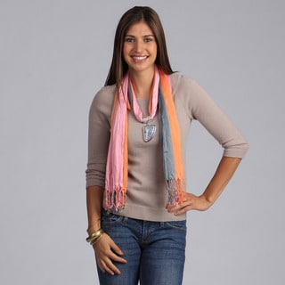 Peach Couture Sea Shell Charm Scarf Necklace