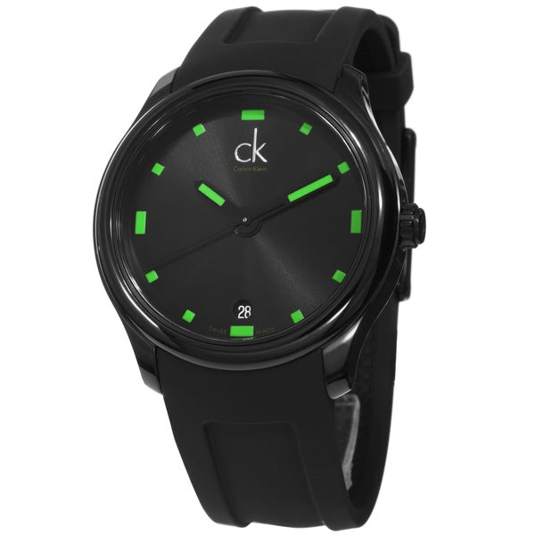 Calvin Klein Men's 'Visible' Black/ Green Swiss Quartz Watch