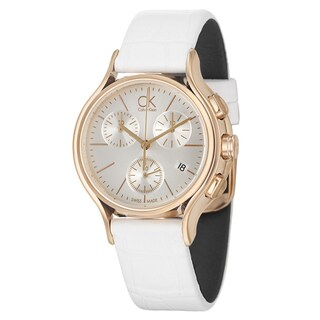 Calvin Klein Women's 'Skirt' Rose-Gold-Plated Swiss Quartz Watch with Silver Dial